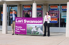 Swanson Supporters Hold Sign Stock Images