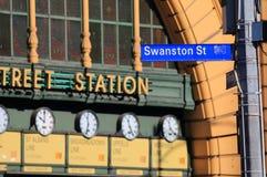 Swanston Street Melbourne Australia. Swanston Street and Flinders Street Station in Melbourne Australia Stock Photography