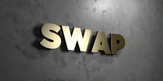 Swap - Gold sign mounted on glossy marble wall  - 3D rendered royalty free stock illustration. This image can be used for an online website banner ad or a Royalty Free Stock Images