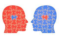 Swap Ideas concept. Human heads from puzzle, 3D rendering Royalty Free Stock Photos