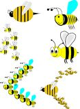 Swarm of bees in attack formation. Various bees in attack formation with stingers in front cartoon Royalty Free Stock Photo