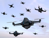 Swarm of security drones with surveillance camera flying in the sky Royalty Free Stock Image