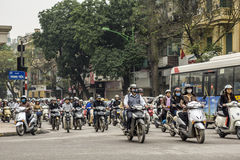 Swarms of motorcycles and scooters in Hanoi. Stock Photo