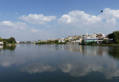 Swaroop Sagar. One of the string of lakes that runs through the heart of Udaipur, Rajasthan Stock Image
