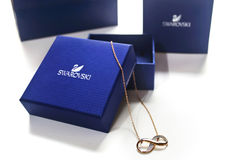 Swarovski bronze infinity necklace Royalty Free Stock Photo
