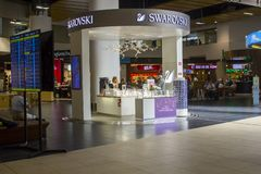 A Swarovski crystal retail outlet in Farp Airport Deparrtures royalty free stock photos