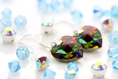 Swarovski  Earrings And Beads Royalty Free Stock Photos