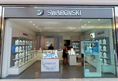 Swarovski Store in Rome, Italy with people who are shopping. Royalty Free Stock Image