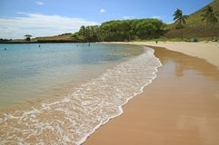 Swash of the wave from Pacific ocean on the Sandy Anakena beach, Easter island, Chile, South America. Beauty in Nature stock photography