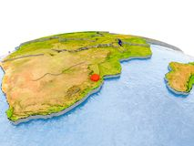 Swasiland auf Modell von Erde Stockfoto