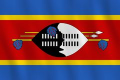 Swasiland-Flagge mit wellenartig bewegendem Effekt, offizieller Anteil lizenzfreie abbildung