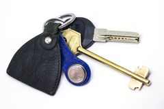 Set of keys with leather keychain Stock Photos