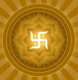 Swastik !. Spiritual Swastika On Lotus Symbol Background Royalty Free Stock Photo