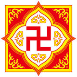 Swastika symbol - Buddhist tradition pattern. Swastika symbol is often can be seen in cultures all over the world, its history can be traced back to four stock illustration