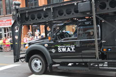 SWAT car. Tennessee USA - famous Broadway street at the beginning of the parade opening the CMA festival 2013. Police showing theior equipment Royalty Free Stock Image