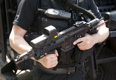 POLICE SWAT HK 416 C assault rifle. Hampshire, England, June 2012. Police firearms officer armed with Heckler and Koch 416 C assault rifle based on the American Royalty Free Stock Photography