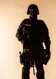 SWAT officer backlit Royalty Free Stock Photos
