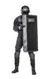 SWAT officer with ballistic shield Stock Image