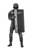 SWAT officer with ballistic shield Stock Photos