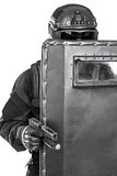 SWAT officer with ballistic shield Royalty Free Stock Photo