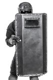 SWAT officer with ballistic shield Royalty Free Stock Images
