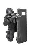 SWAT officer with ballistic shield Royalty Free Stock Image