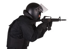 SWAT officer in black uniform Royalty Free Stock Photography