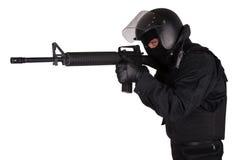 SWAT officer in black uniform Royalty Free Stock Image