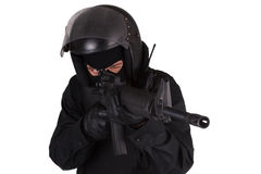 SWAT officer in black uniform Stock Photo