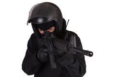 SWAT officer in black uniform Stock Photo