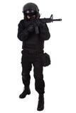 SWAT officer in black uniform Stock Images