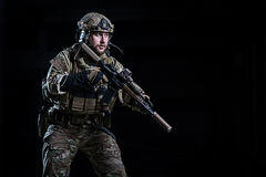 SWAT officer with rifle Royalty Free Stock Photography