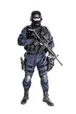 SWAT officer. Special weapons and tactics SWAT team officer with his gun Royalty Free Stock Images