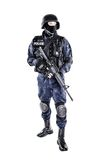 SWAT officer. Special weapons and tactics SWAT team officer with his gun Royalty Free Stock Photo