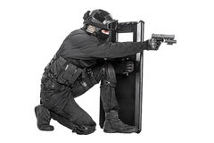 Free SWAT Officer With Ballistic Shield Stock Photos - 60780083