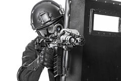 Free SWAT Officer With Ballistic Shield Royalty Free Stock Image - 60780366