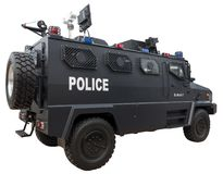 SWAT Police Car. Balck special police anti-riot armored vehicles isolated on white Stock Photos