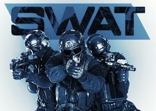 Swat police special forces with rifle Stock Photography