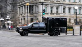 SWAT in rush. You can see a SWAT (anti-bomb team) van in Washington DC Stock Photo