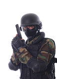 Swat soldier. On white background stock image