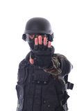 Swat soldier. On white background royalty free stock image
