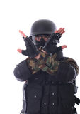 Swat soldier. On white background stock photo