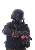 Swat soldier. On white background stock images