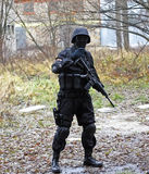 SWAT soldier. Asg game in old deserted factory Stock Image