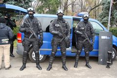 SWAT team display. Swat team or SIAS in Romania; photo taken during a public demonstration for the national Romanian day Stock Images