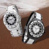Swatch. 2 swatch on the beach stock photo