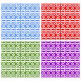 Swatch collection, set of elegant white geometric patterned tiles. Stock Photos
