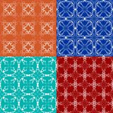 Swatch collection, set of elegant white geometric patterned tiles. Classic background in art deco style in orange, blue, turquoise. And dark red Royalty Free Stock Photo