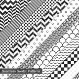 13 Swatch seamless patterns. Geometric vector patterns. Black and white texture Stock Photo