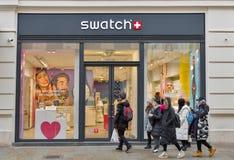 Swatch store on Florianska Street in Krakow Old Town, Poland. Royalty Free Stock Photo